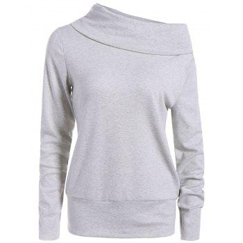 High Neck Long Sleeve Sweatshirt - LIGHT GRAY LIGHT GRAY