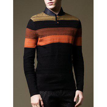 Button Design Round Neck Color Block Sweater