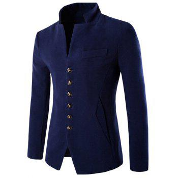Stand Collar Multi Button Wool Blend Blazer