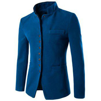 Stand Collar Button Up Wool Blend Blazer