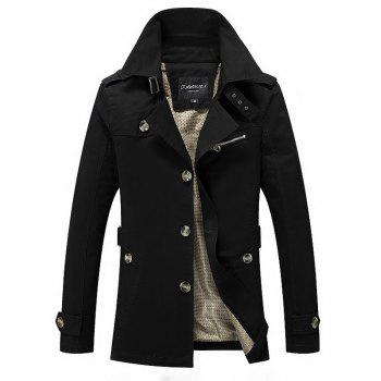 Notched Collar Zip Embellished Wind Coat