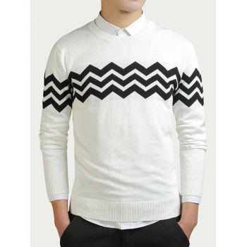 Wave Striped Color Block Long Sleeve Sweater