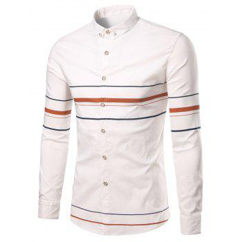Rhinestone Turn-Down Collar Geometric Stripe Shirt - ORANGE ORANGE