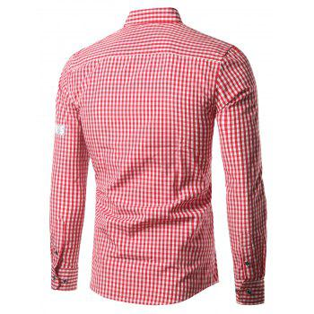 Grid Stripe Turn-Down Collar Patched Plus Size Shirt - RED 3XL