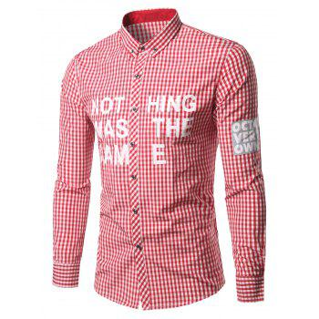 Grid Stripe Turn-Down Collar Patched Plus Size Shirt - RED RED