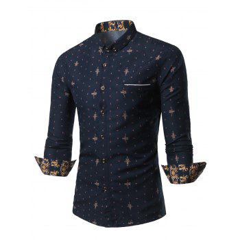 Geometric Print Turn-Down Collar Pocket Plus Size Shirt - CADETBLUE CADETBLUE