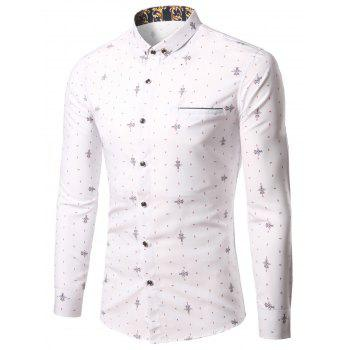 Geometric Print Turn-Down Collar Pocket Plus Size Shirt - WHITE WHITE