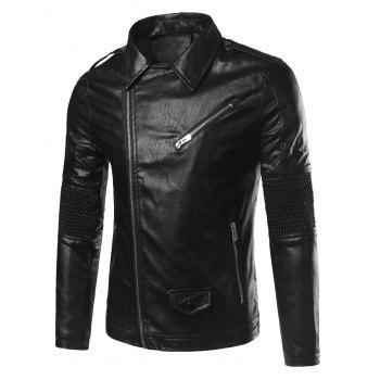 Zip-Up Pocket Embellished Plus Size Faux Leather Jacket