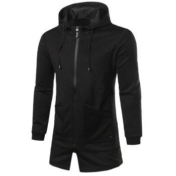 Hooded Pocket Patched Longline Zip Up Coat