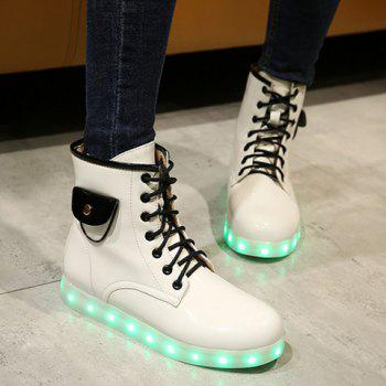 Tie Up Lights Up Ankle Boots - WHITE WHITE