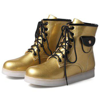 Tie Up Lights Up Ankle Boots - GOLDEN GOLDEN