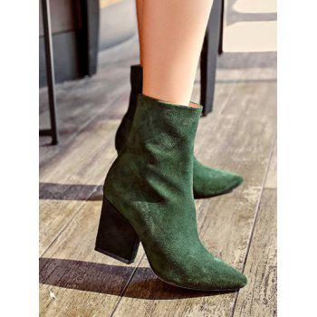 Pointed Toe Side Zip Chunky Heel Short Boots - GREEN 39