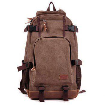 Canvas Splicing Zippers Backpack