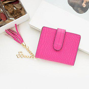 PU Leather Tassel Embossing Small Wallet -  ROSE RED