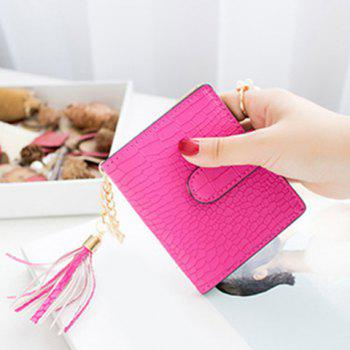 PU Leather Tassel Embossing Small Wallet - ROSE RED ROSE RED
