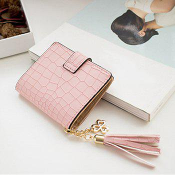 PU Leather Tassel Embossing Small Wallet -  PINK
