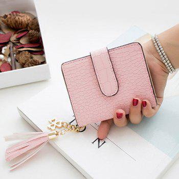 PU Leather Tassel Embossing Small Wallet - PINK PINK