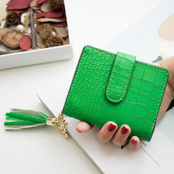 PU Leather Tassel Embossing Small Wallet - GREEN GREEN