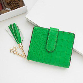 PU Leather Tassel Embossing Small Wallet - GREEN