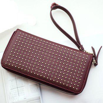 Zip Textured Leather Metal Wallet