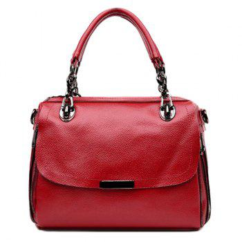 Textured PU Leather Chain Tote