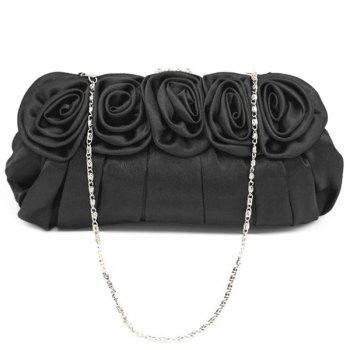 Pleated Flowers Satin Evening Bag