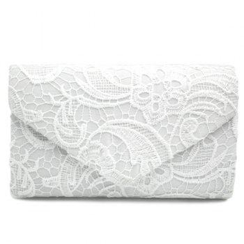 Lace Envelope Evening Clutch - WHITE WHITE