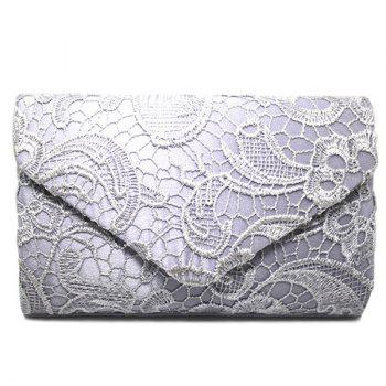 Lace Envelope Evening Clutch - SILVER SILVER