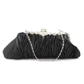 Satin Metal Trimmed Pleated Evening Bag