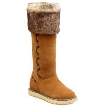 Suede Faux Fur Mid Calf Snow Boots