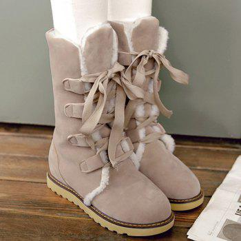 Lace Up Suede Snow Boots - OFF WHITE 39