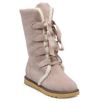 Lace Up Suede Snow Boots - OFF-WHITE OFF WHITE