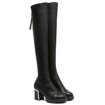 Zip Platform PU Leather Thigh Boots
