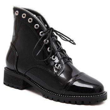 Tie Up Patent Leather Eyelets Ankle Boots