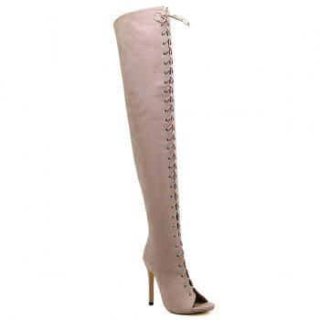 Peep Toe Lace-Up Stiletto Heel Thigh Boots - APRICOT APRICOT
