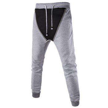 Double Zipper Embellished Beam Feet Jogger Pants