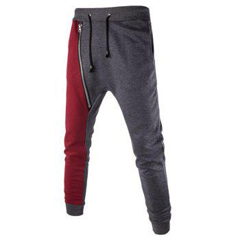 Color Splicing Inclined Zipper Beam Feet Harem Pants
