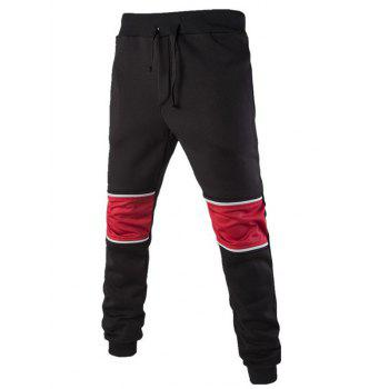 Buy Color Splicing Beam Feet Lace-Up Jogger Pants BLACK