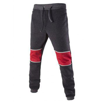 Color Splicing Beam Feet Lace-Up Jogger Pants