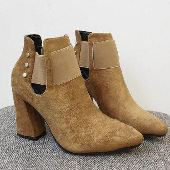 Pointed Toe Suede Elastic Band Ankle Boots