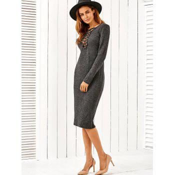 Plunging Neck Lace Up Bodycon Sweater Dress - L L
