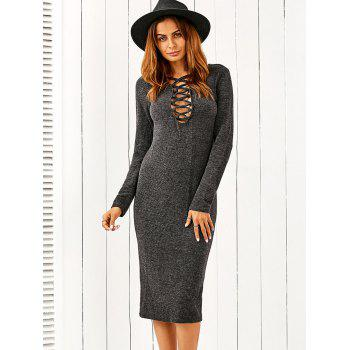 Plunging Neck Lace Up Bodycon Sweater Dress - DEEP GRAY L
