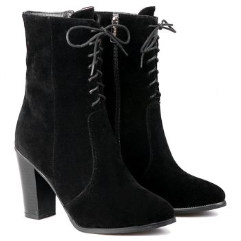 Flock Zipper Chunky Heel Short Boots