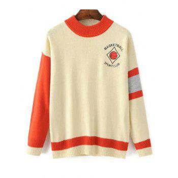 Mock Neck Basketball Embroidered Color Block Sweater