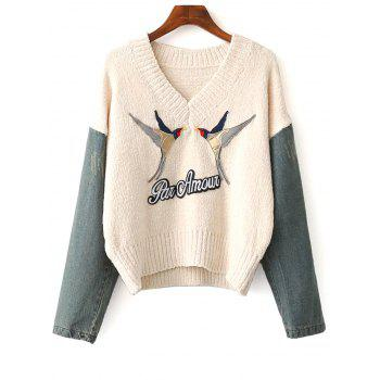 Denim Spliced Embroidery Sweater