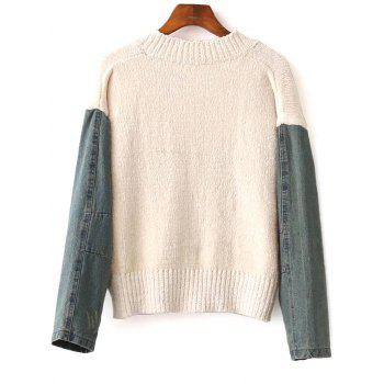 Denim Spliced Embroidery Sweater - APRICOT APRICOT