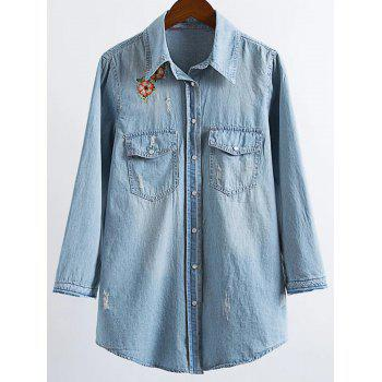 Long Sleeve Embroidered Ripped Denim Shirt - LIGHT BLUE LIGHT BLUE