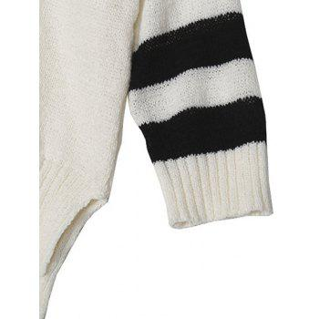 High Low Color Block Loose Sweater - WHITE ONE SIZE