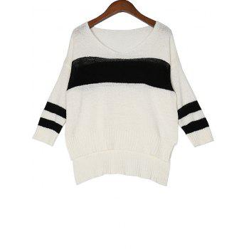 High Low Color Block Loose Sweater - WHITE WHITE