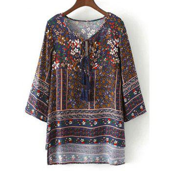 Retro Print High Low Tunic Top